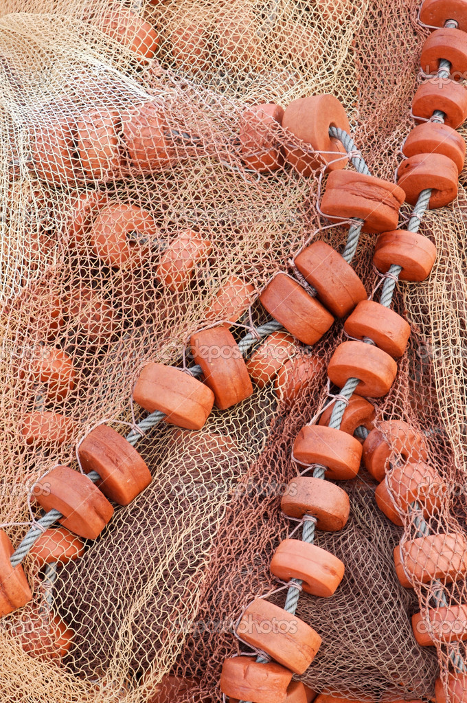 Detail of an old traditional fishing net — Stock Photo #9439011