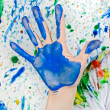 Hand painting of blue color - Stock Photo