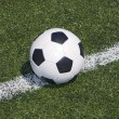 Soccer ball on the line - Stock Photo