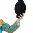 Hand of toreador with hat — Stock Photo