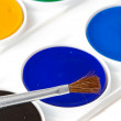 Box of watercolors with brush — Foto Stock