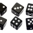Six black dices - Foto Stock