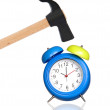 Clock and hammer - Stock Photo