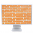 Modern monitor with the image of a brick wall background — Stock Photo