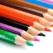 Pencils of many colors aligned - Stock Photo