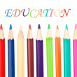 Royalty-Free Stock Photo: Back to school. Colored pencils sharp vertical