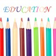 Back to school. Colored pencils sharp vertical — Stock Photo #9441432