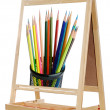 Blackboard with image of pencils — Stock Photo