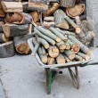 Truck transporting cut logs for firewood — Stock Photo