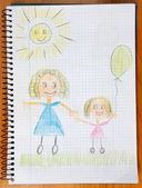 Drawing of a mother and her daugther — Stock Photo