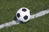 Soccer ball on the line — Stock Photo