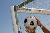 Soccer ball in the goal net — Stockfoto