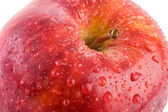 Macro apple with red drops of water - Shallow DOF — Stock Photo