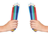 Two hands holding many colored pencils — Stock Photo