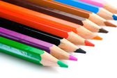 Pencils of many colors aligned — Stock Photo