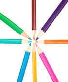 Colored pencils arranged in a star shape — Stock Photo