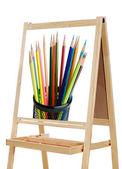 Blackboard with image of pencils — Stock Photo