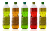 Five oil bottles — Stock Photo