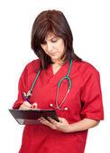 счастливый врач женщина с буфером обмена — Стоковое фото