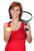 Hermosa pelirroja con una raqueta de tenis — Foto de Stock