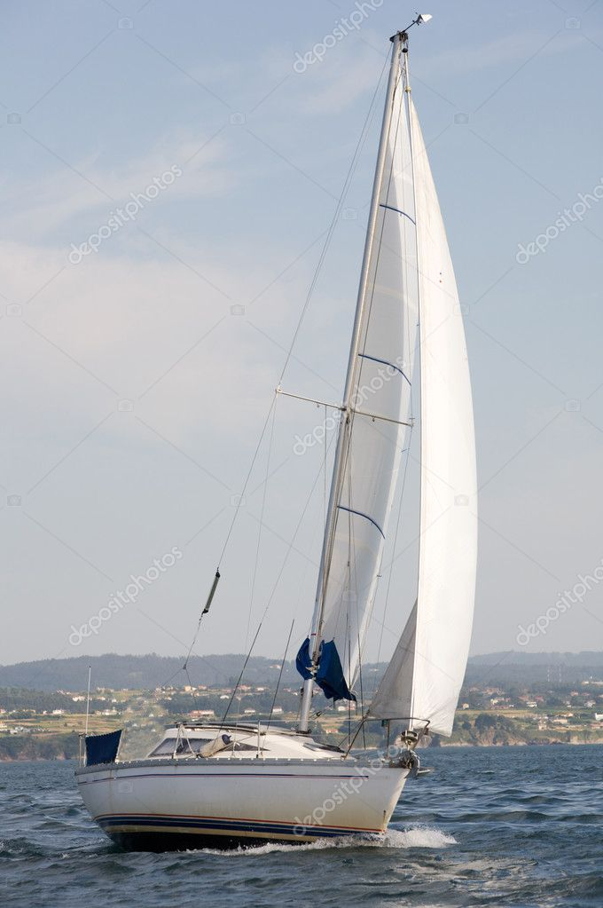 Lovely sailing boat at sea helped by the wind — Stock Photo #9440558