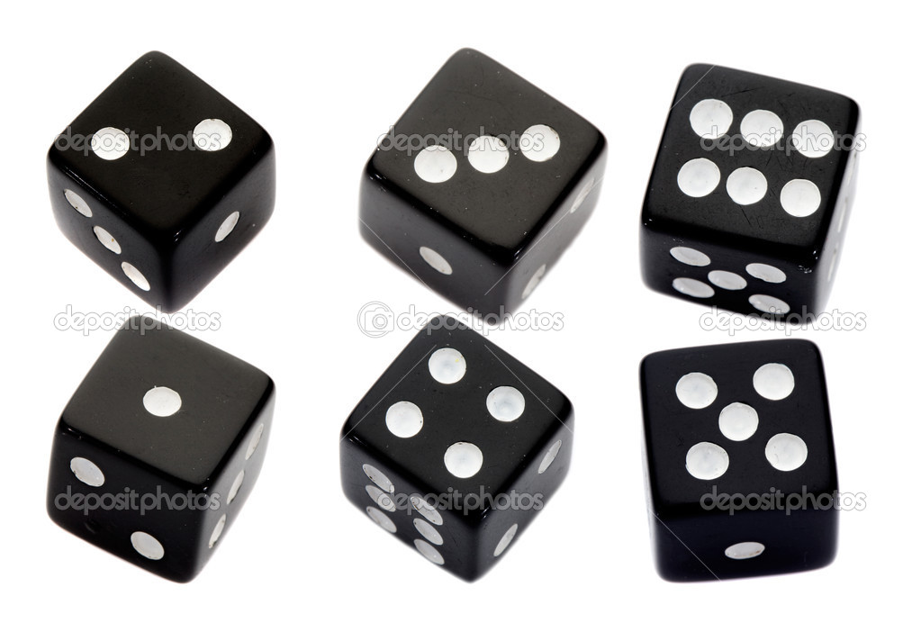 Six black dices on a over white background  Stock Photo #9440906