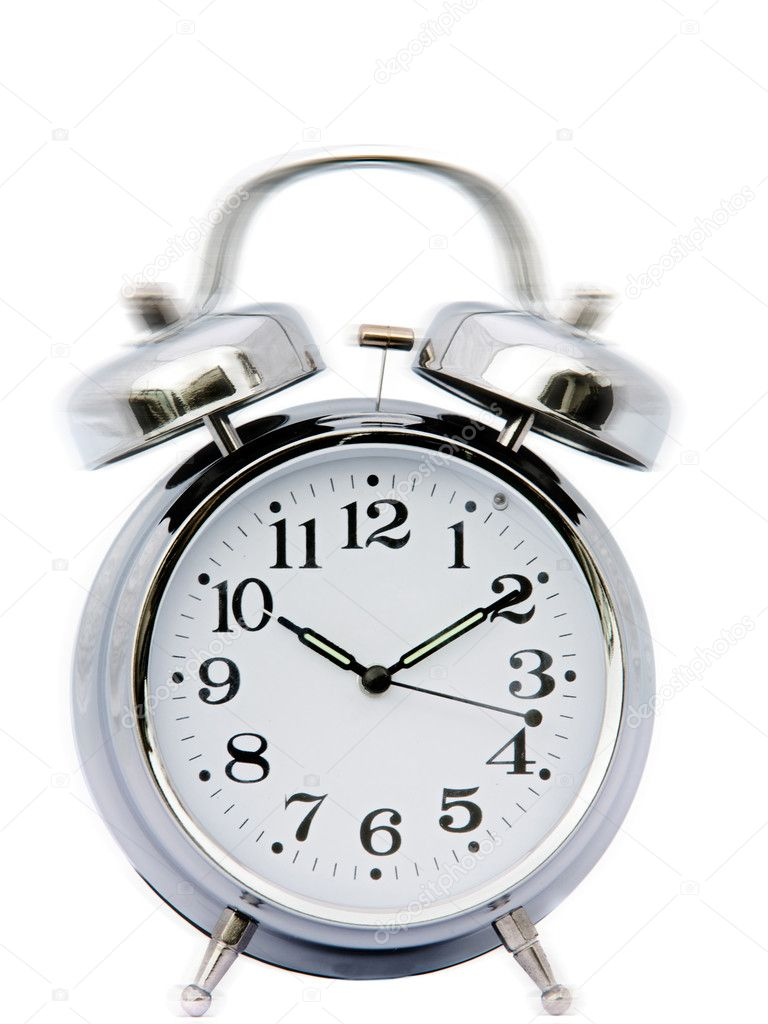 Clock ringing - a over white background — Stock Photo #9440917