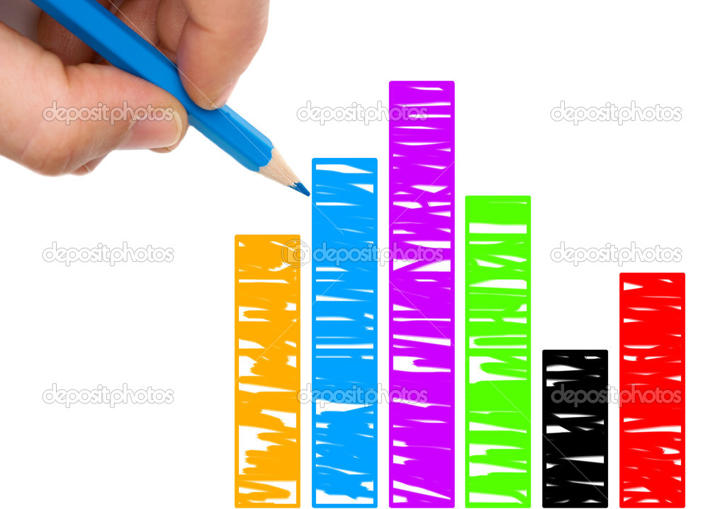 Hand with blue pen drawing a colorfull graphic isolated over white — Stock Photo #9441205
