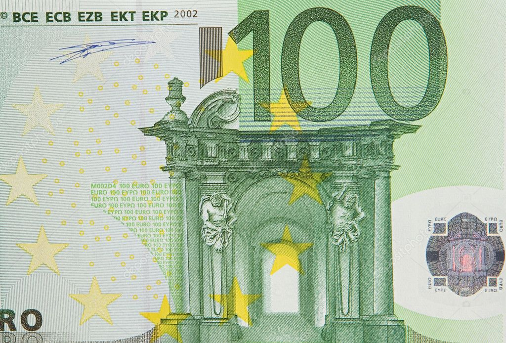 One bill of one hundred of euros a over white background — Stock Photo #9441640
