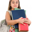 Busy student with many books — Stock Photo