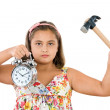 Stock Photo: Beautiful girl with clock