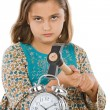 Beautiful girl with clock and hammer — Stock Photo #9497197
