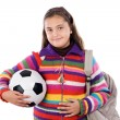 Adorable student girl with soccer ball — Stockfoto