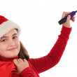 Beautiful girl with hat of christmas writting - Foto de Stock
