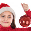 Beautiful girl with red ball of christmas — Stock Photo #9497329