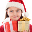 Beautiful girl with presents of christmas — Stock Photo