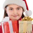 Beautiful girl with two presents of christmas — Stock Photo