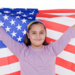 Stock Photo: Patriotic little girl with american flag
