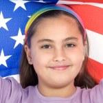Amerikan bayraklı vatansever küçük kız — Stok fotoğraf