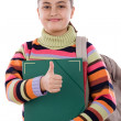 Stock Photo: Girl student with folder and backpack