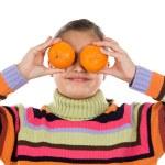 Attractive girl with mandarines — Stock Photo