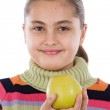 Cute girl with a apple — Stock Photo