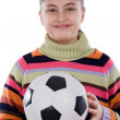 Adorable student girl with soccer ball — Stock Photo #9497580