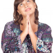Stock Photo: Adorable preteen girl praying