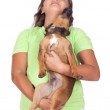 Teenage girl with her puppy — Stock Photo