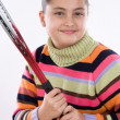 Adorable girl with racket of tennis — Stock Photo #9497712
