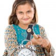 Beautiful girl with clock and hammer — Stock Photo