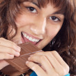 Girl with chocolate — Stock Photo