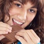 Girl with chocolate — Stock Photo