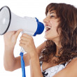 Teenager with megaphone — Stock Photo